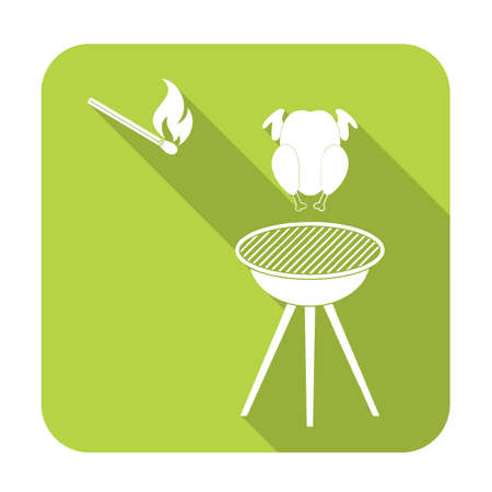 Barbecue grill with chicken icon Illustration