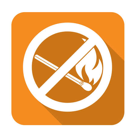 forewarn: No Fire sign. Prohibition open flame symbol. Vector illustration.