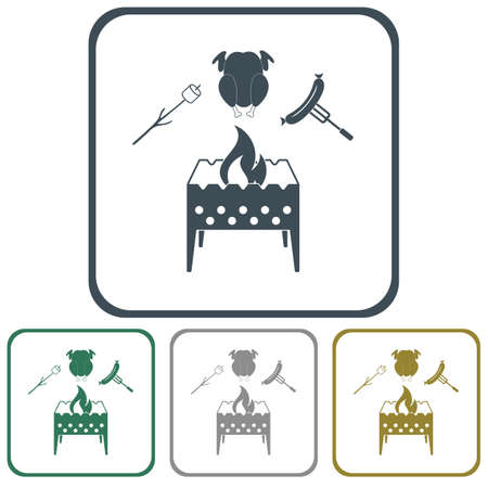 Brazier, zephyr, chicen and sausage icon. Vector illustration