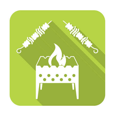 chafing dish: Brazier grill with kebab icon. Vector illustration