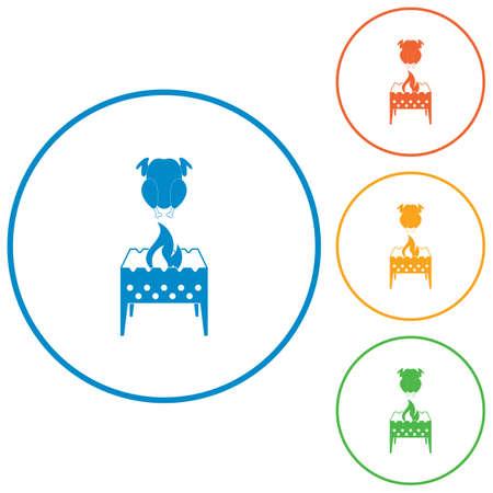 brazier et poulet icône. illustration vectorielle