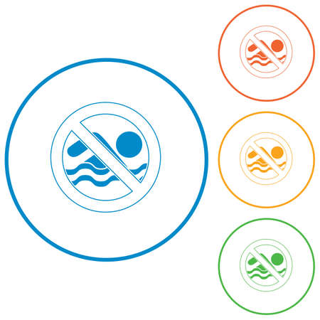 No swimming prohibition sign icon. Vector illustration