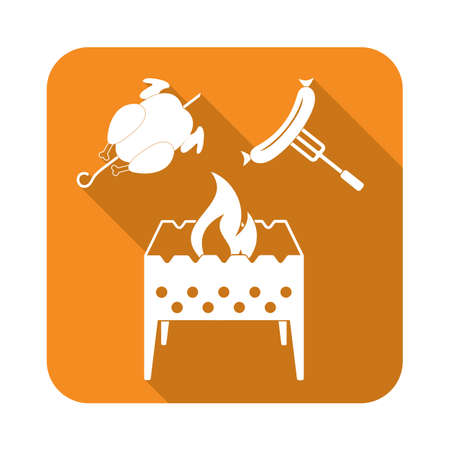 Brazier, chicken and sausage icon. Vector illustration