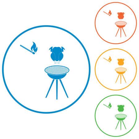 Parrilla de barbacoa con icono de pollo. Ilustración vectorial Vectores