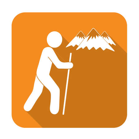 hiking: Hiking icon illustration isolated vector sign symbol Illustration