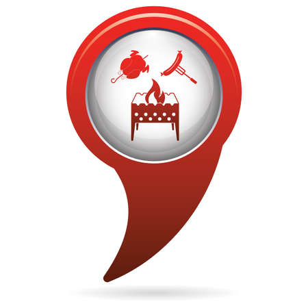 Brazier, chicken and sausage icon. Vector illustration