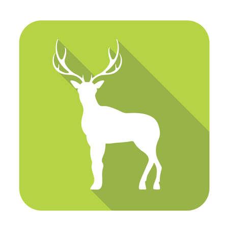 Silhouette of the deer. Flat deer icon.