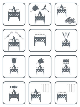 Set of barbecue icons. Vector illustration Stock Vector - 78286655
