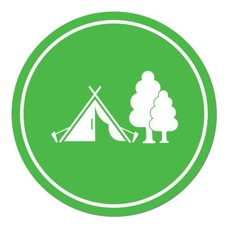 hiking: Stylized icon of tourist tent. Vector illustration
