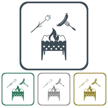 Icône de brasero, zéphyr et saucisse. Illustration vectorielle