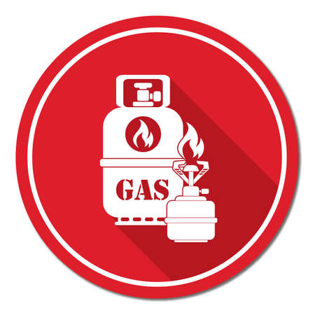 butane: Camping stove with gas bottle icon. Vector illustration.   Illustration
