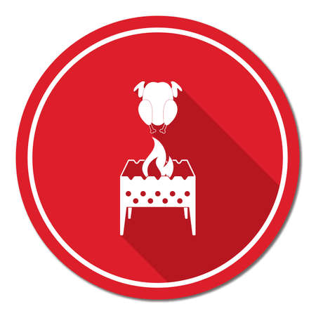 Brazier and chicken icon. Vector illustration