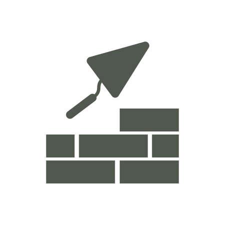 mason: Brick with Trowel Symbol. Vector illustration