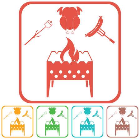 Icône de brasero, zephyr, chicen et saucisse. Illustration vectorielle
