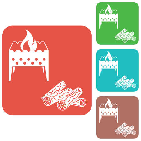 Brazier and firewood icon. Vector illustration Stock Vector - 80341506