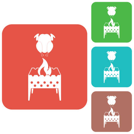 Brazier and chicken icon. Vector illustration Illustration