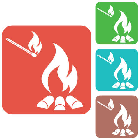 survive: Campfire silhouette icon. Vector illustration