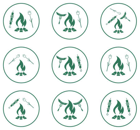 cookout: Set of cooking on campfire icons. Vector illustration