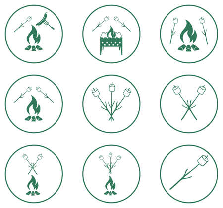 cookout: Set of barbecue icons. Vector illustration   Illustration