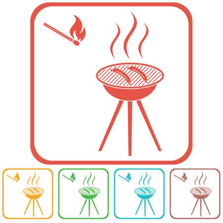 Barbecue sausage icon. Vector illustration