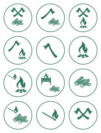 cookout: Firewood, ax and matches icons. Vector illustration Illustration