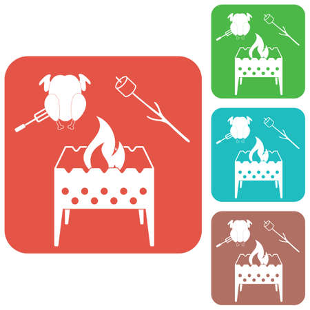 Brazier, zephyr and chicken icon. Vector illustration