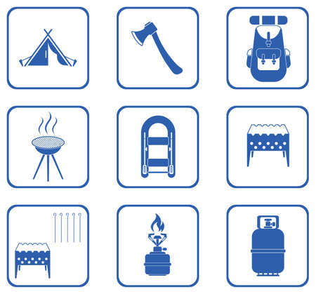 survive: Set of camping equipment icons. Vector illustration