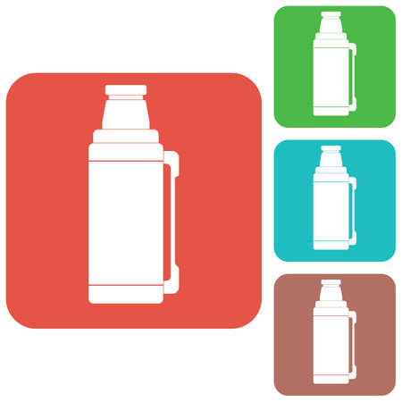 aluminum: Thermos container icon, camping and hiking equipment. Vector illustration