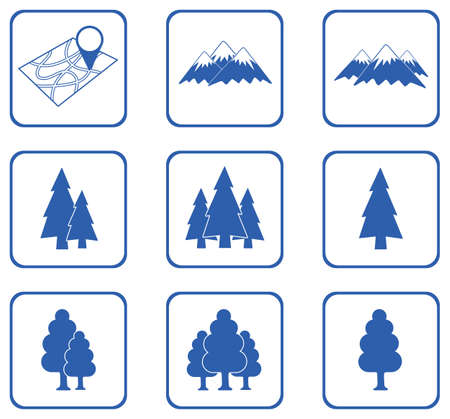 cultivate: Set of forest and mountains icons. Vector illustration