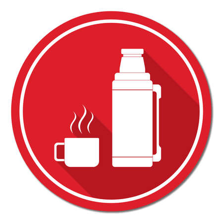 aluminum: Vacuum Flask, container icon, camping and hiking equipment. Vector illustration