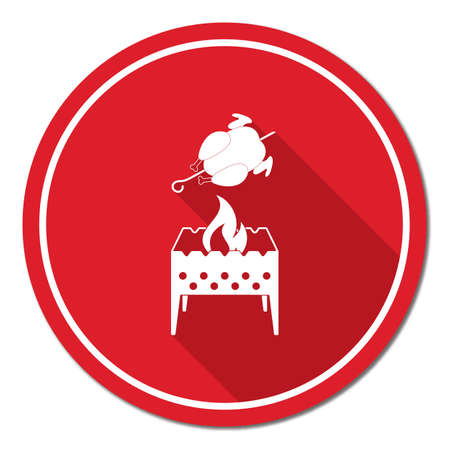 cookout: Brazier and chicken icon. Vector illustration Illustration
