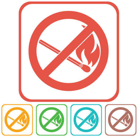 not open: No Fire sign. Prohibition open flame symbol. Vector illustration