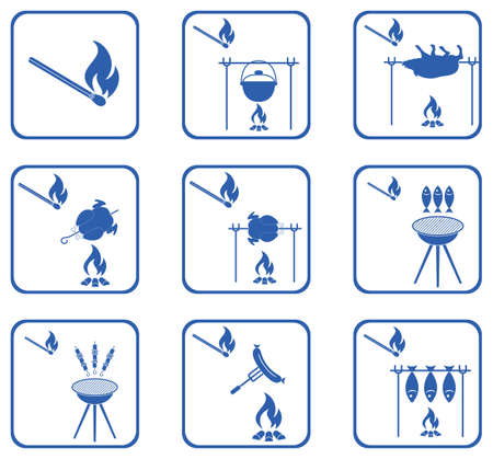 fried: Set of barbecue icons. Vector illustration