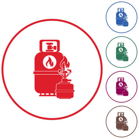 butane: Camping stove with gas bottle icon. Flat icon isolated. Vector illustration Illustration