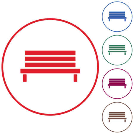 Outdoor park wooden bench vector icon glyph Illustration