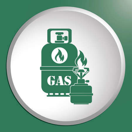 butane: Camping stove with gas bottle icon. Vector illustration.