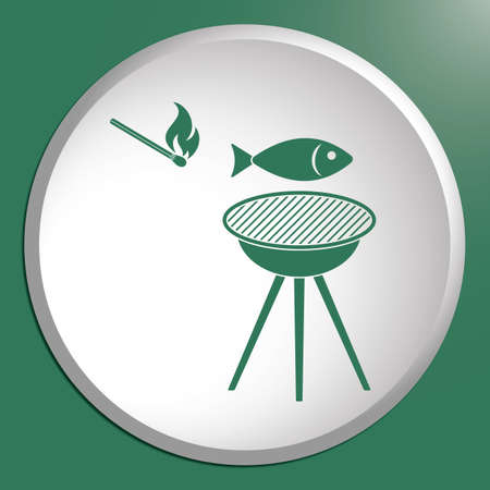cooked meat: Grilled fish icon. Vector illustration