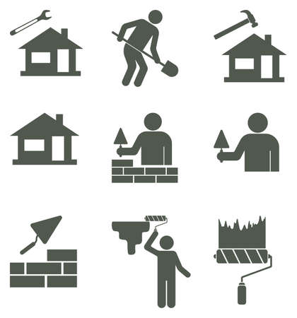 Set of mason worker icons. Vector illustration