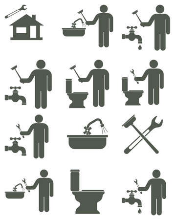 tube wrench: Plumbing work symbol icons set. Vector illustration
