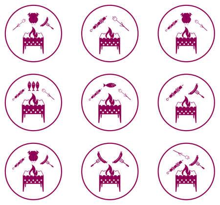 Set of Braziercooking  icons. Vector illustration. Illustration