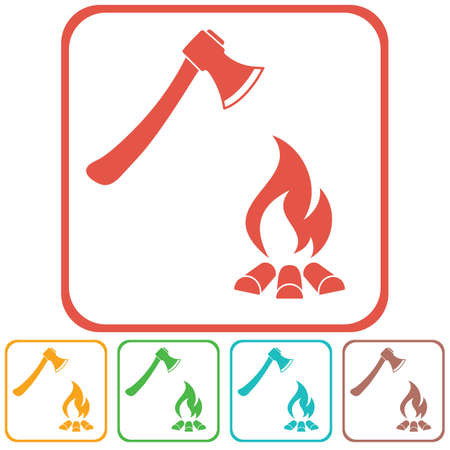 reconstruction: The axe and campfire icon Flat Vector illustration.