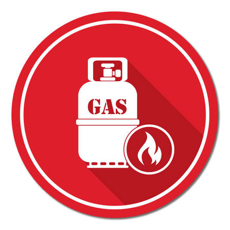 butane: Camping stove with gas bottle icon vector. Vector illustration. Illustration