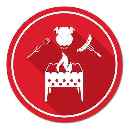brazier: Brazier, zephyr, chicen and sausage icon. Vector illustration