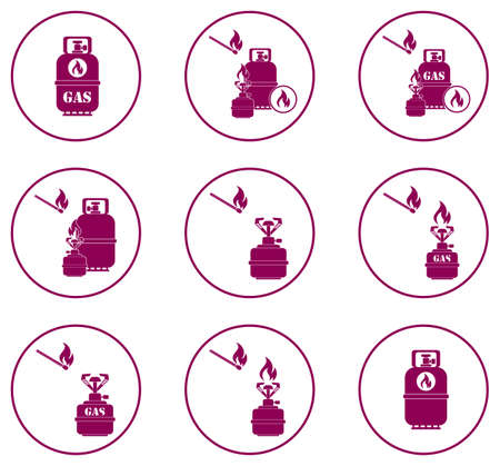 butane: Set of camping stove and gas bottle icons vector illustration.