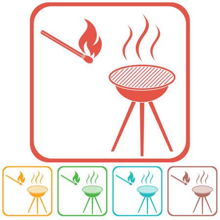 The barbecue icon flat Vector illustration Illustration