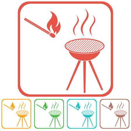 The barbecue icon flat Vector illustration Reklamní fotografie - 81844110