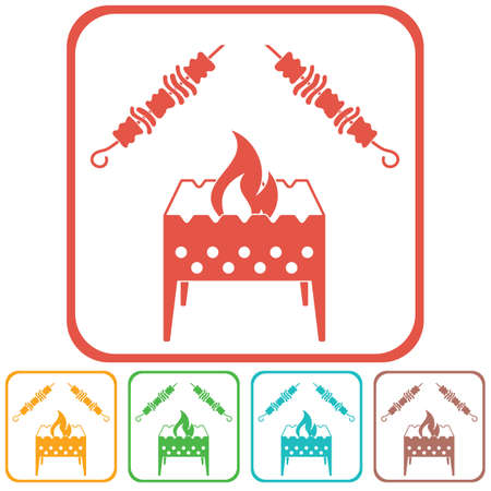 brazier: Brazier grill with kebab icon vector illustration
