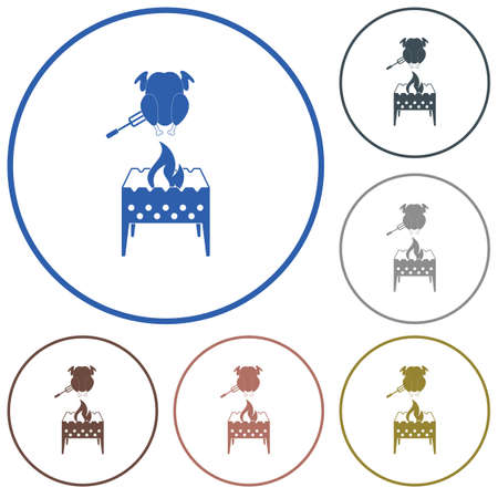 brazier: Brazier and chicken icon. Illustration