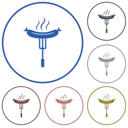 Barbecue sausage icon. Illustration