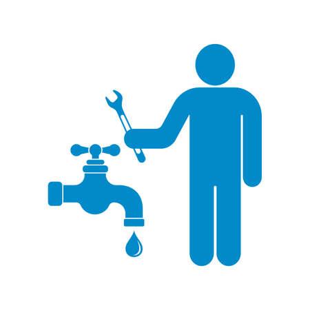bathe: Plumbing work symbol icon vector illustration Illustration